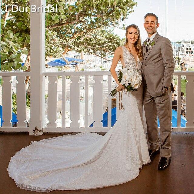 צולל צוואר בת ים חתונת שמלות גב תחתון פרל חרוזים שרוולים Appliqued חרוזים תמונת כלה שמלת Vestido דה Novia
