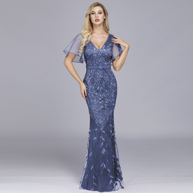 Sparkle Sexy Mermaid Evening Dresses Long Sequined V-Neck Sparkle Evening Gowns For Party Vestidos Largos Fiesta 2019 New Dress 6
