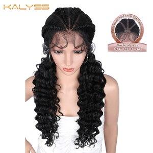 Kalyss 28 cali ręcznie plecione peruki z luźne kręcone faliste Twintails syntetyczne 360 koronki przodu Twist warkocze peruka dla czarnych kobiet