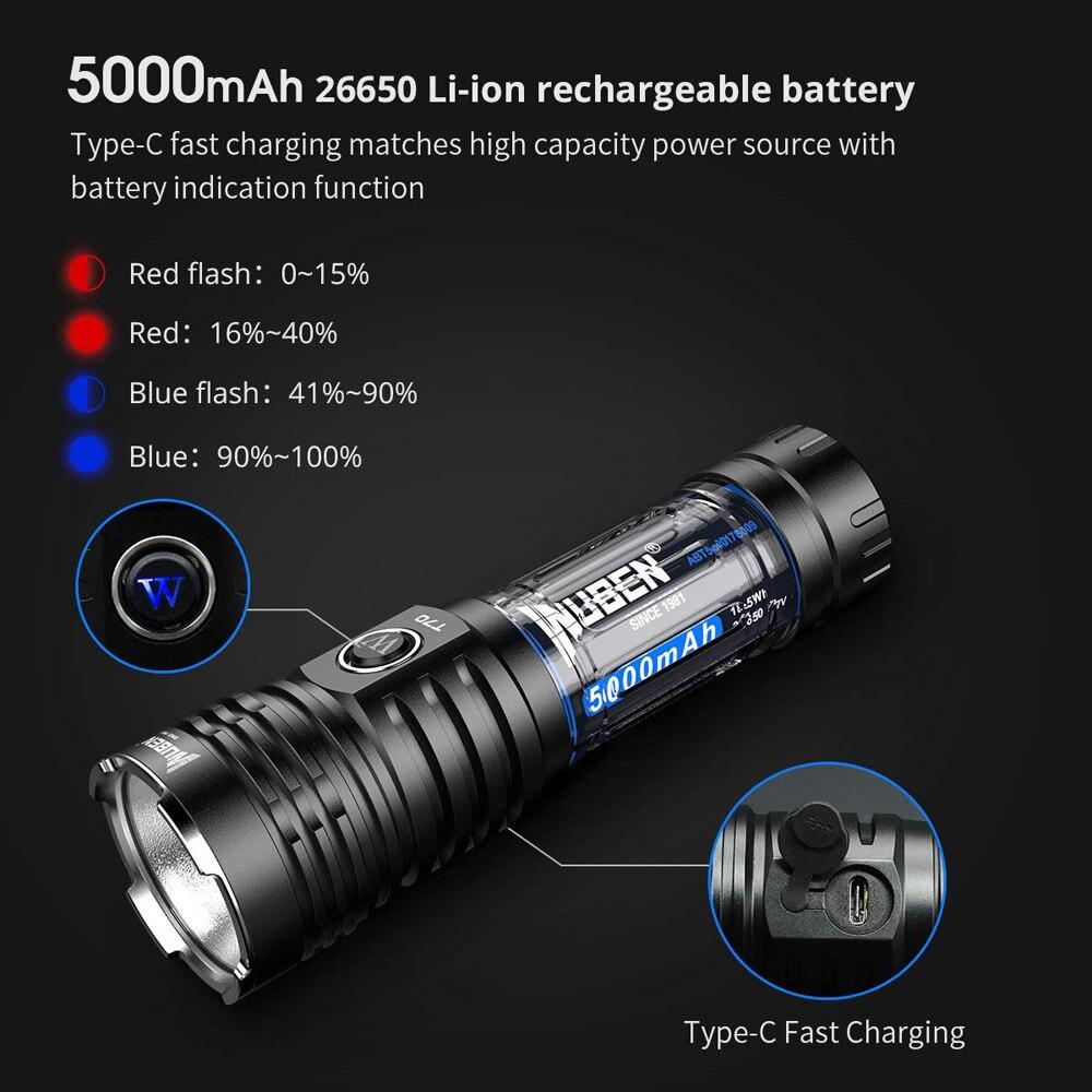 Image 4 - WUBEN LED Flashlight Super Powerful Torch 26650 Battery 4200 Lumens CREE LED Waterproof Type C Rechargeable Flashlights T70LED Flashlights   -