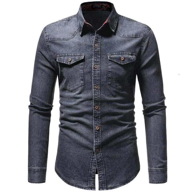 2019 printemps hommes lavés Demin chemises à manches longues Slim Fit Jean chemises pour hommes Cowboy t-shirts hauts décontracté Hombre vêtements d'extérieur
