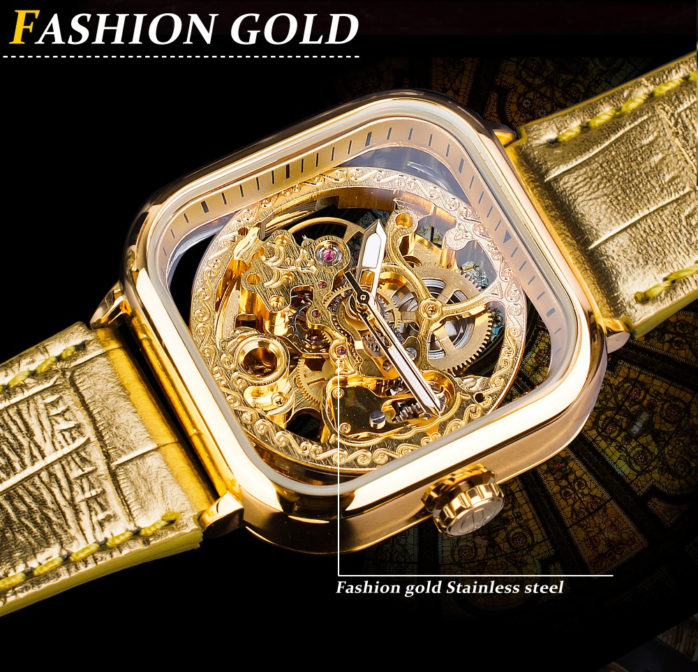 Forsining Fashion Gold Gear Movement Luminous Hands Gold Leather Transparent Mens Automatic Mechanical Watches Top Brand Luxury
