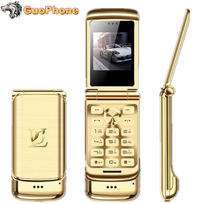 "Original Ulcool V9 Luxury Flip Phone 1.54"" Dual Sim Camera MP3 Bluetooth FM Dialer Anti-lost Metal Body Mini Mobile Phone"