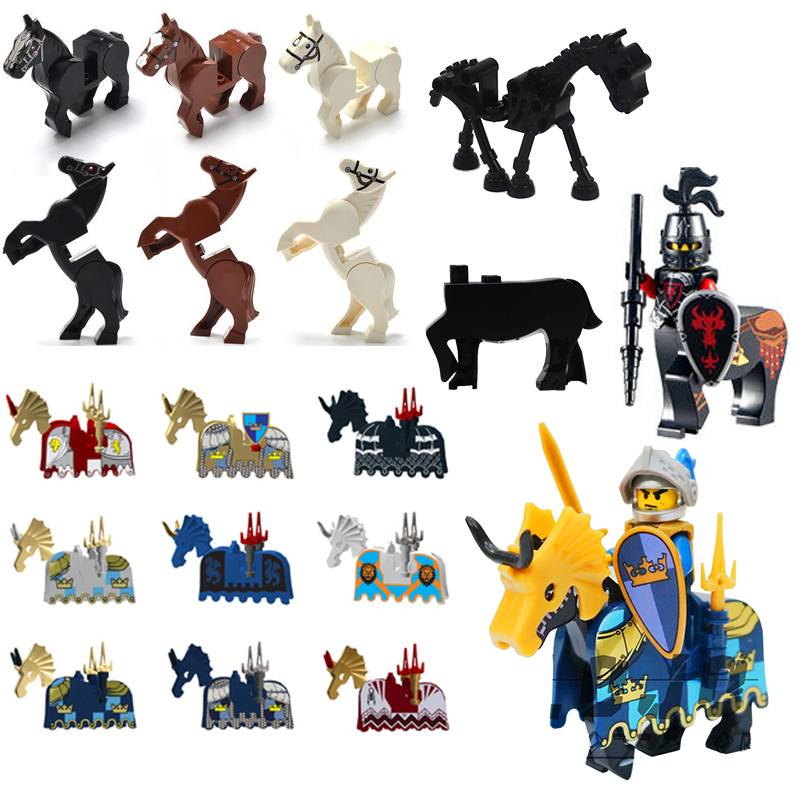 1PCS Without Mini Figures Centaur Middle Ages Army Horse Fit Logo Weapon Skeleton Death Knight Accessories Compatible With Toys