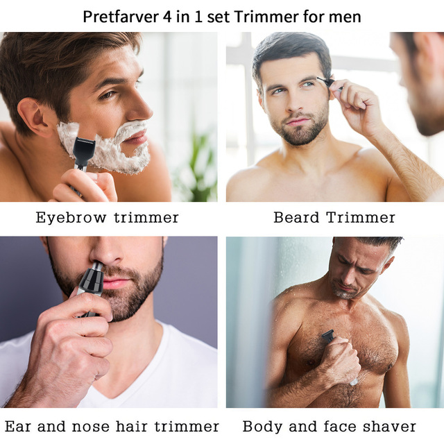 4 in 1 Electric Nose Hair Trimmer Men Trimer Ear Nose Hair Trimmer Beard Trimmers Hair Removal Eyebrow Epilator Nose Clippers 1