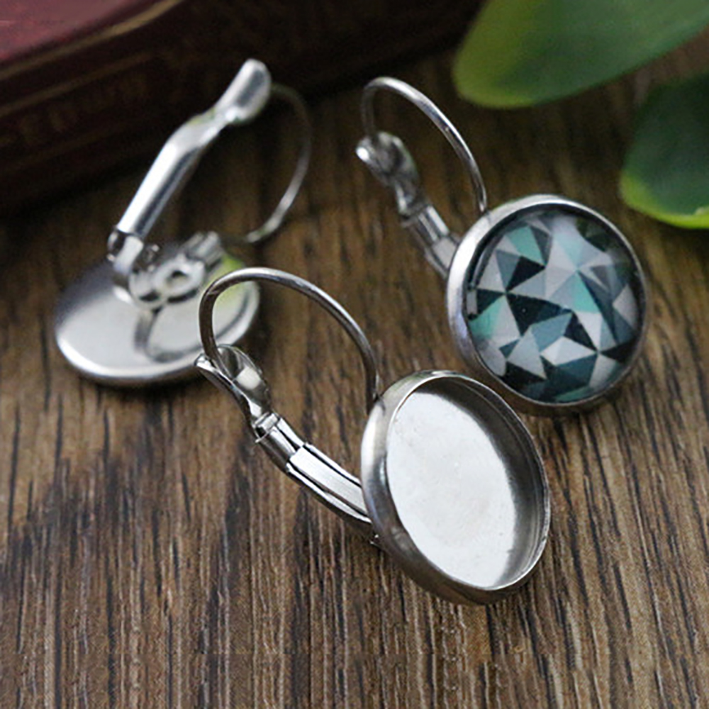 ( No Fade ) 6mm 8mm 10mm 10pcs Stainless Steel French Lever Back Earrings Blank/Base,Fit 6-10mm Glass Cabochons,Buttons