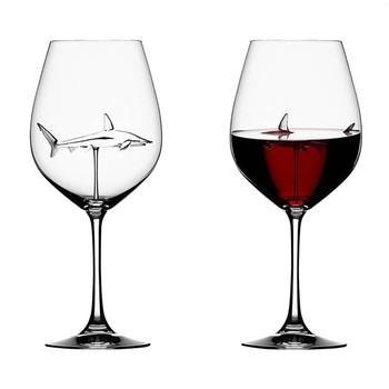 Szklany kubek europejski szklany rekin lampka do czerwonego wina kubek butelka na wino szpilki Shark kieliszek do czerwonego wina wesele prezent tanie i dobre opinie CN (pochodzenie) ROUND Szkło Pojemnik na koktajl Ekologiczne wine glass Fruit Juice Beer Cup Champagne Flutes Toasting Glass