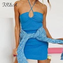 FSDA-vestido ceñido de punto con cuello Halter para mujer, vestido azul con espalda descubierta y hombros descubiertos, informal, naranja, Sexy, para playa y fiesta, verano 2021