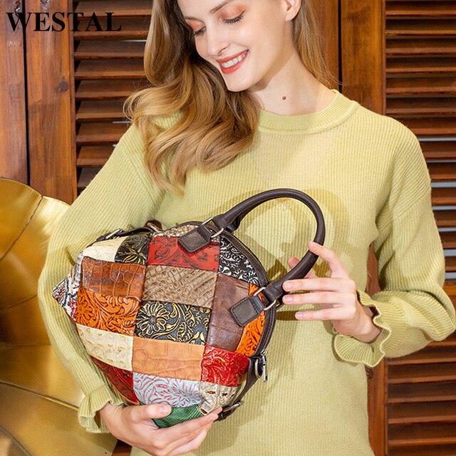 WESTAL damska torba 2020 torba na ramię dla kobiet prawdziwej skóry luksusowe torebki damskie torebki projektant kwiatowy skórzana torebka damska