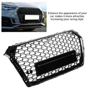 Image 1 - For Audi A4/S4 B9 RS4 Style 2017 2018 Front Sport Hex Mesh Honeycomb Hood Grill Gloss Black High Quality Car Accessories