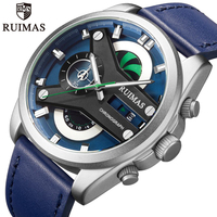 Ruimas relógio masculino marca de luxo dos homens moda negócios quartzo relógios pulseira de couro cronógrafo à prova dwaterproof água relógio de pulso masculino|Relógios de quartzo| |  -