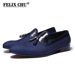 Image 1 - Spring Autumn Mens Dress Shoes Denim Stitching Genuine Leather Wedding Party Banquet Formal Men Blue Loafers With Tassel