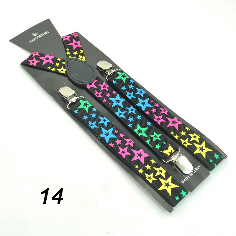 Elastic 2.5 Cm Braces 6 Patterns Star Colorful Pattern Men Women Clip On Suspenders Y-shaped Adjustable Cloth Pants Accessories