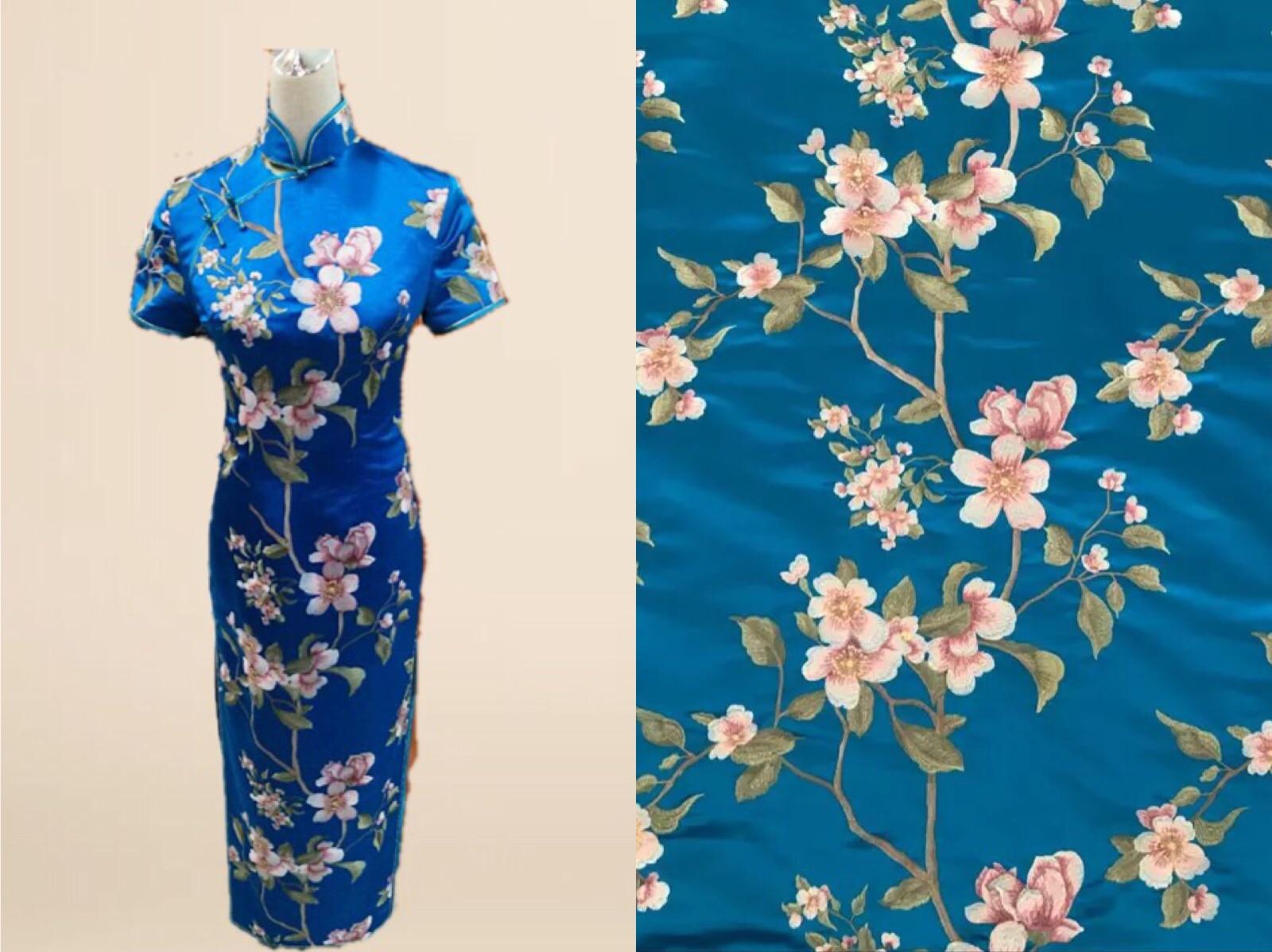 Silk Wide Embroidery  Silk Crepe Satin Plain Silk Charmeuse Cheongsam Clothing Fabric Width 140