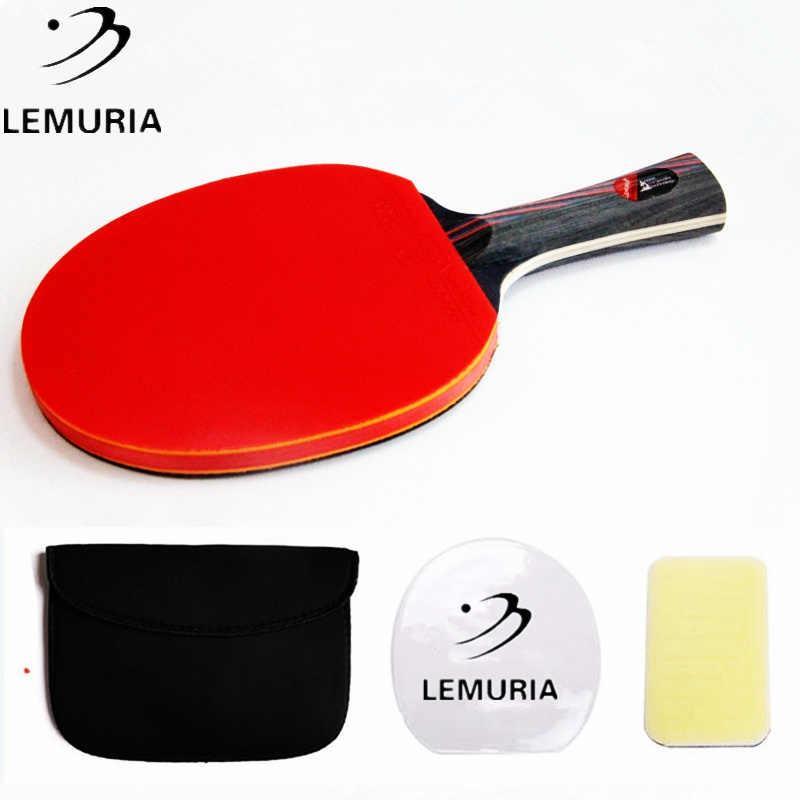 Raqueta de tenis profesional de fibra de carbono LEMURIA, raqueta de tenis de mesa con doble cara, espinillas de goma FL o CS, raqueta de ping pong de mano