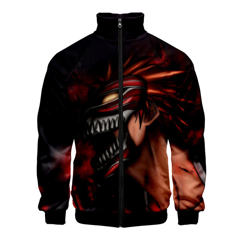 Bleach Japanese Anime 3d Stand Collar Hoodie Hood Men Women Zipper Hoodies Jackets Long Sleeve Zip Up Unisex 3D Sweatshirts Tops
