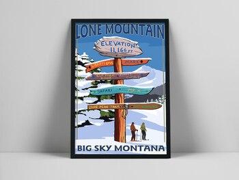 Cartel de paisaje de esquí de Montana europeo, decoración de pared, lienzo...