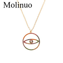 Molinuo New design round hollow evil eye shape pendant necklace for charm Women with colorful Zirconia trendy Jewelry