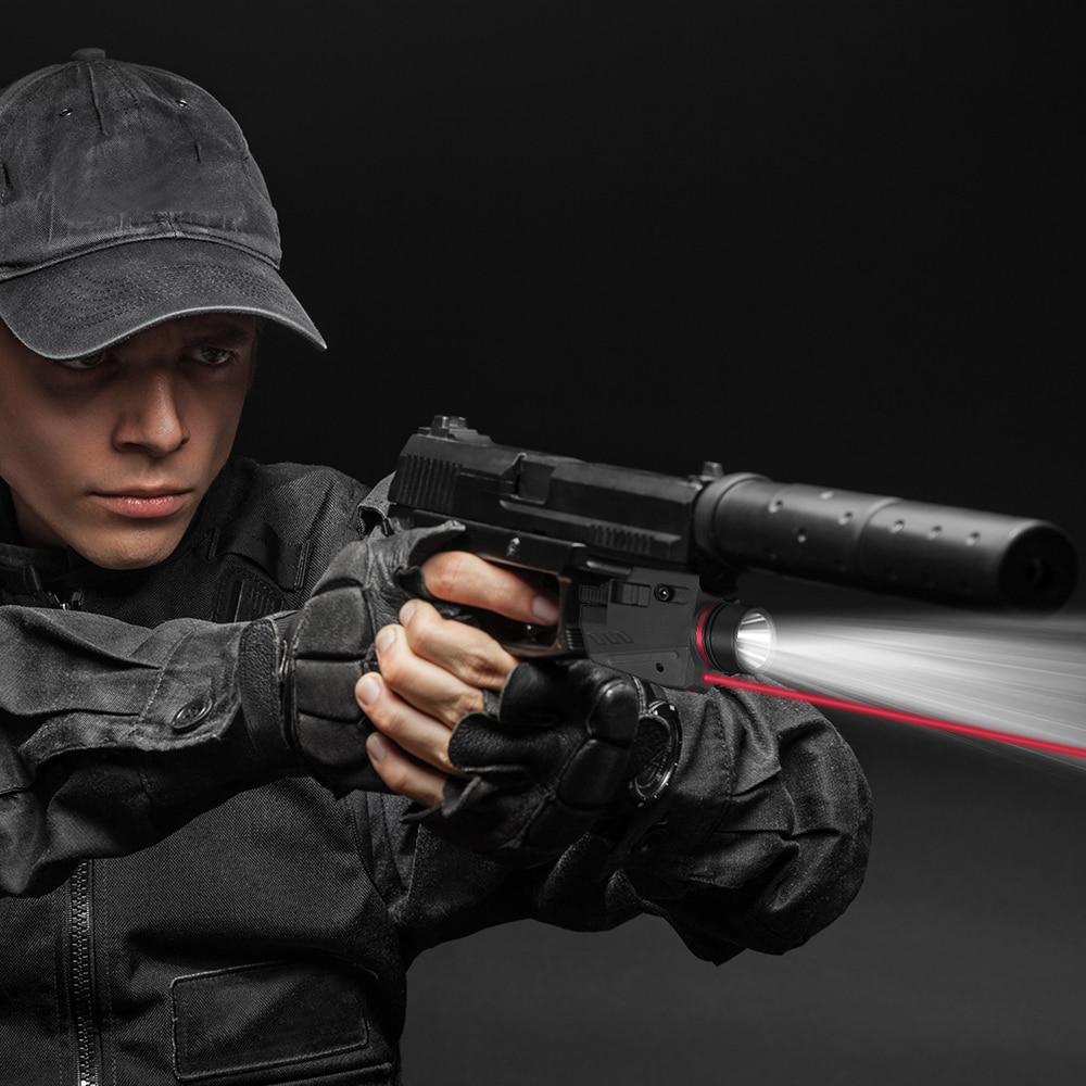 Tactical LED Gun Light Flashlight Red Laser Sight Portable Pistol Gun Light Military Airsoft Weapon Light for Hunting Shooting-4