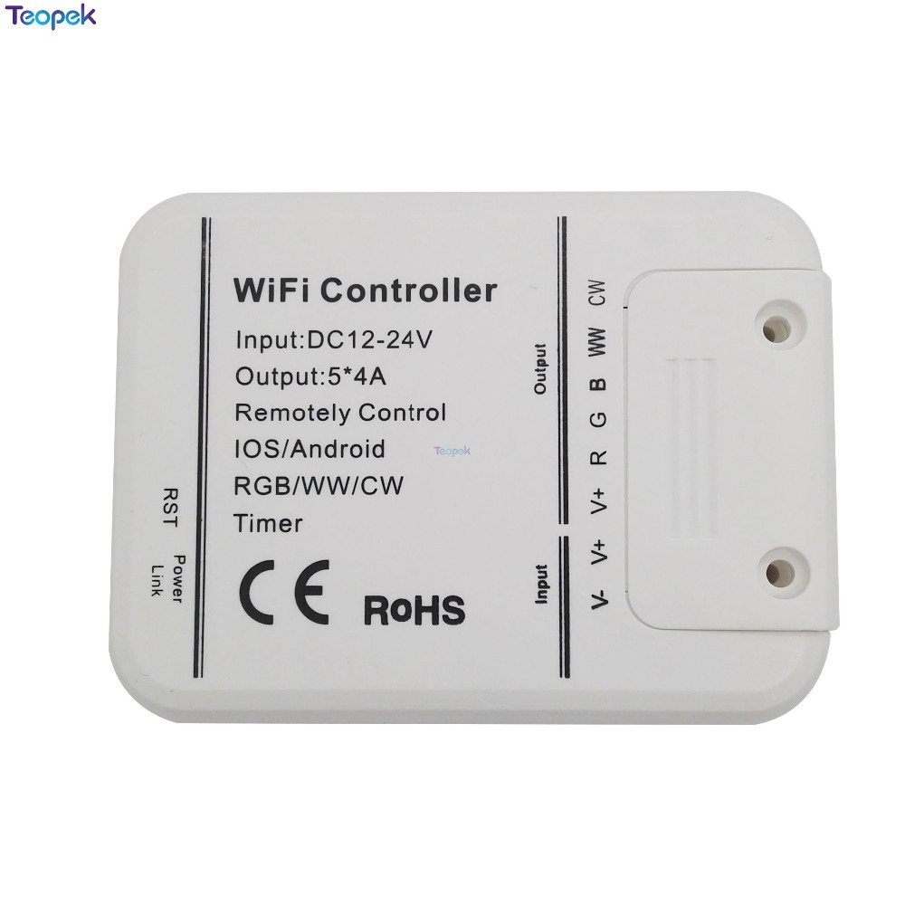 Magic Home Wifi led controller <font><b>5</b></font> channels RGBW/CCT/CW Smartphone Control Music And Timer Mode 16 Million Colors DC12-24V 20A image