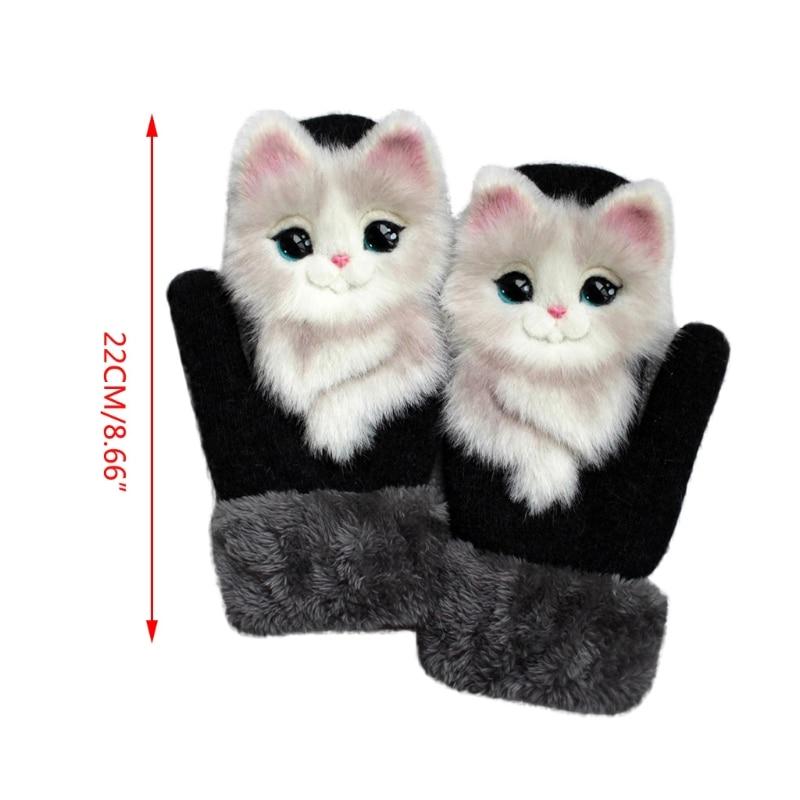 Women Men Winter Knitted Gloves Cute 3D Fluffy Cartoon Animal Thermal Mittens X5XA