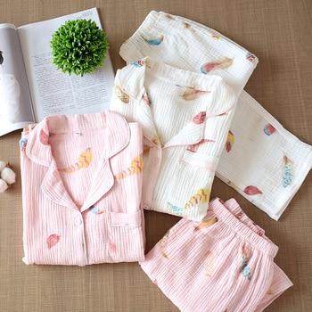 Womens Cotton Gauze Crepe Pajamas Autumn Leisure Long Sleeve Thin Sleepwear Full Length Printing Pajama Set 2 Piece Women Wear - discount item  20% OFF Women's Sleep & Lounge