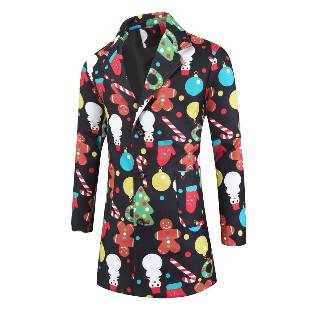2020 NEW Men's Coats Vintage Ethnic Christmas Fun Print Windbreaker Jackets man floral jackets male Single Button Handsome coats