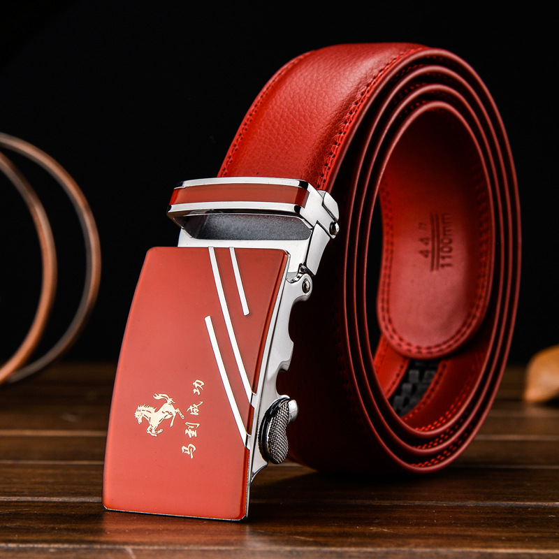 130 140 150 160cm Red Automatic Buckle Belt For Women Men 3.8cm Width Leather Belt Large Size Luxury High Quality Belts