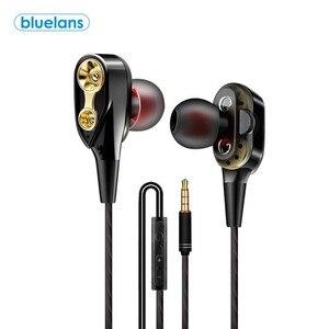 Двойной привод стерео проводные наушники в ухо гарнитура наушники бас наушники для IPhone Samsung 3,5 мм Спортивная игровая гарнитура с микрофоном