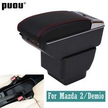 Подлокотник для Mazda 2/Demio, вращающийся центральный подлокотник из искусственной кожи, контейнер для хранения с пепельницей, автомобильные ак...
