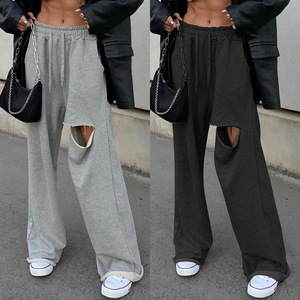 Punk Wide Leg Pants Women Casual Loose Streetwear Outfits Hole High Waist Hip Hop Women Sweatpants Casual Pants Black Gray