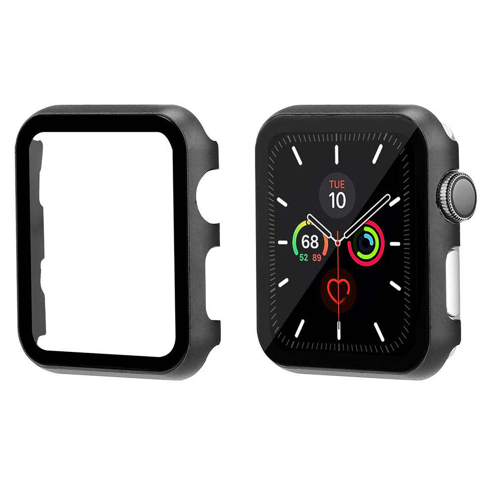 metal case and tempered film glass for apple watch 42mm 38mm 44mm  40mm cover iWatch 5 4 3 2 1 Frame watch protective case