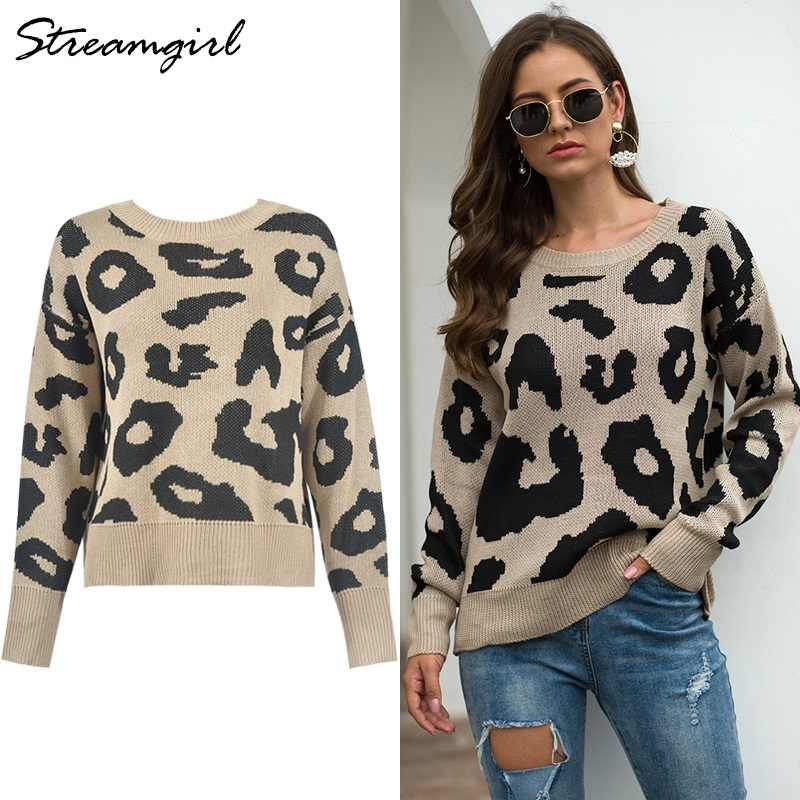 Streamgirl, suéter estampado de leopardo, suéter suelto de Invierno para mujer, suéteres femeninos para mujer, suéter rosa de leopardo para mujer, 2019