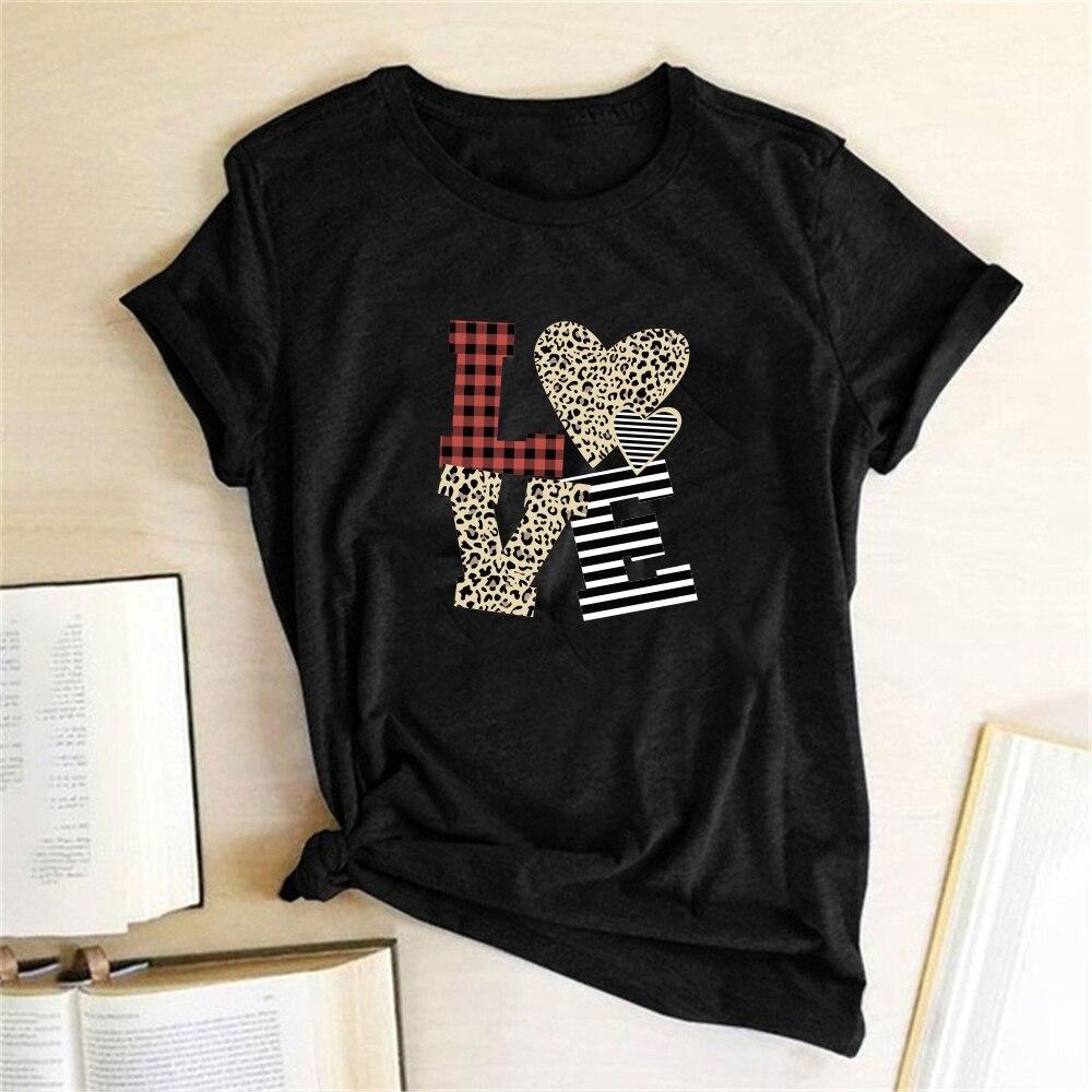 С леопардовым принтом в клетку, в полоску, с принтом в виде надписи «LOVE» Футболка женская одежда женские летние топы дамы Графический Футбол...