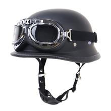 Retro motorcycle half helmet Vintage German army style helmet