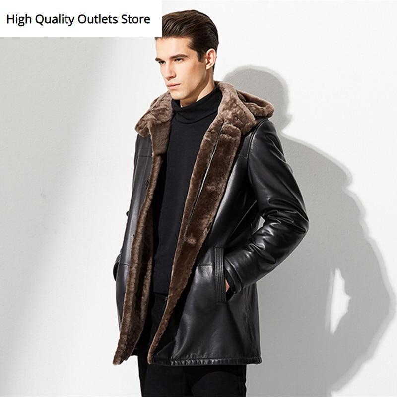 New Style Men's Sheepskin Shearling Coat Men Mid-Long Genuine Leather Coat Men Fur Coat Jacket Outerwear MBN01441