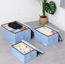 Washable Cotton Linen Clothing Storage Box Wardrobe Rectangle  Organizer with Lid organizador ropa Portable Container Bag