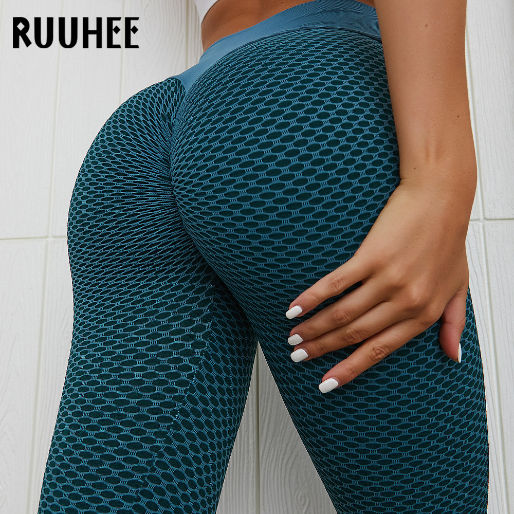 RUUHEE 2020 Tight Pleated Leggings Sports Women Fitness High Waist Yoga Pants Workout Gym Leggings Abdomin Slim Push Up Leggings