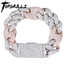 TOPGRILLZ Miami Lock Clasp Cuban Link 7 8 9 Inch Gold Silver Plated Bracelet Iced Out Cubic Zircon Bling Hip hop for Men Jewelry