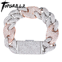 TOPGRILLZ Miami Lock Clasp Cuban Link 7 8 9 Inch Gold Silver Bracelet Iced Out AAA Cubic Zircon Bling Hip hop for Men Jewelry