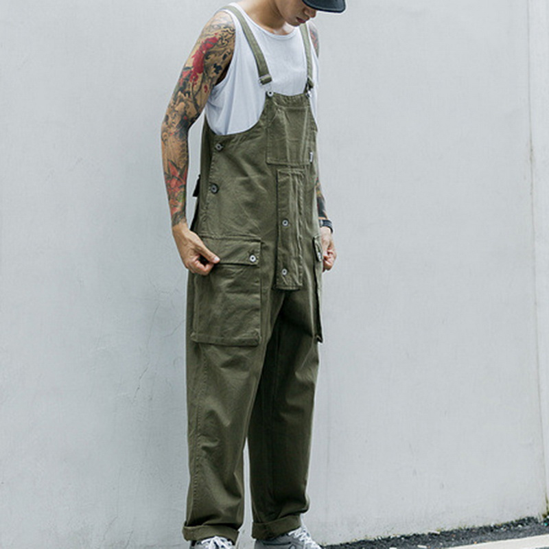 Vintage Multi Pocket Overalls Casual Men Jumpsuit Streetwear Loose One Pieces Caro Pant Strap Pantalon Hombre Suits Summer 2020