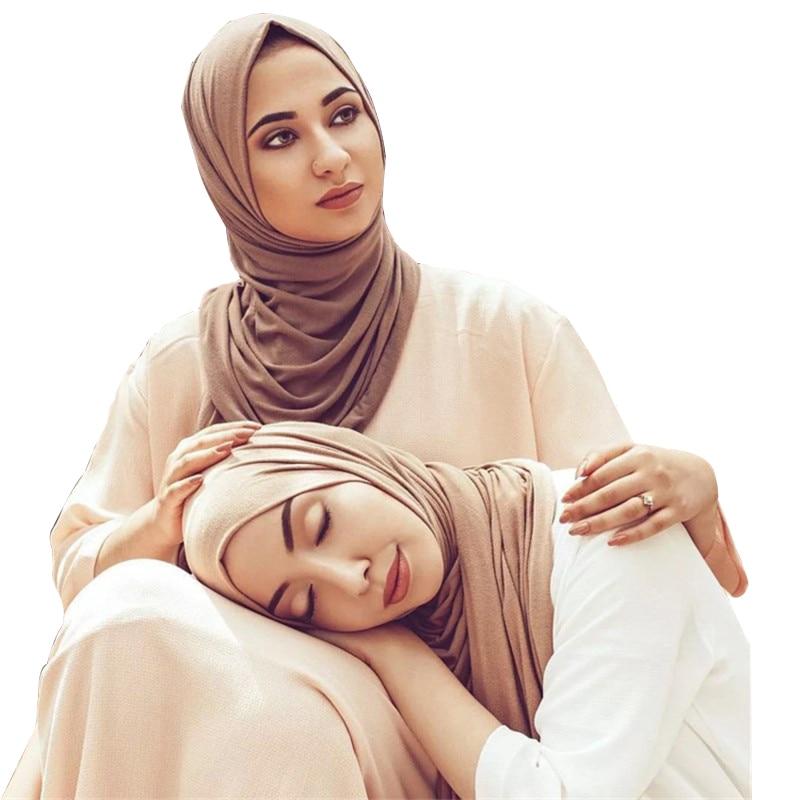 60*170cm Muslim Women Plain Cotton Modal Hijab Scarf Islamic Jersey Headscarf Hijab Femme Musulman Arab Headwrap Shawl Turban