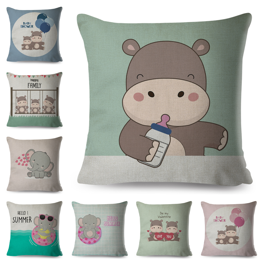 Cute Cartoon Baby Bottle Hippo Elephant Family Animal Cushion Cover Decor Pillow Case For Sofa Car Home Linen Cojines Pillowcase