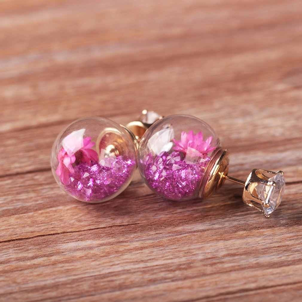 Glass Ball Dry Flower Stud Earrings Fashion Trend Earrings Round Ball Earrings For Women Wedding Party Charms Jewelry Waterdrop