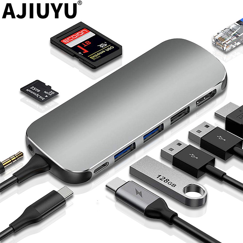 AJIUYU USB Hub C HUB To Multi USB 3.0 HDMI Adapter Dock For MacBook Pro Air Accessories USB-C Type C 3.1 Splitter Port USB C HUB