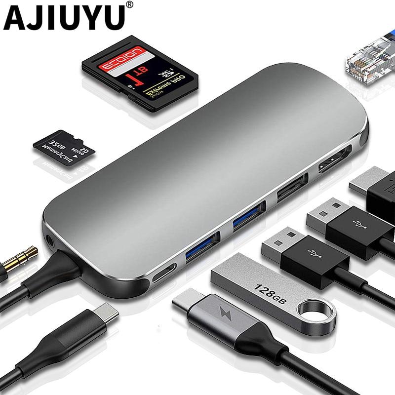 AJIUYU USB Hub C HUB to Multi USB 3.0 HDMI Adapter Dock For MacBook Pro Air Accessories USB-C Type C 3.1 Splitter Port USB C HUB