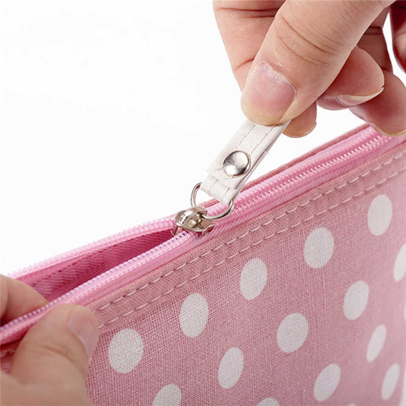 Cotton Và Vải Lanh Nữ Thiếu Niên Nữ Sóng Điểm Dễ Thương Túi Đựng Mỹ Phẩm Nữ Rộng Di Động Nhỏ Túi Đựng Đồ Trang Điểm Du Lịch nhà Tổ Chức