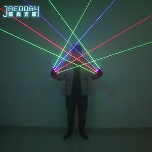 Image 5 - Di alta qualità Fase del partito del DJ danza 2 in 1 Multi linea RGB Laser Guanti With2 Verde 1 Rosso 1 blu Per Il LED luminoso Costumi Mostrano