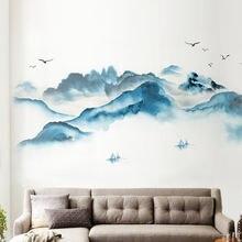 В стиле ретро; китайском Стиль наклейки на стену «Пейзаж» живописи