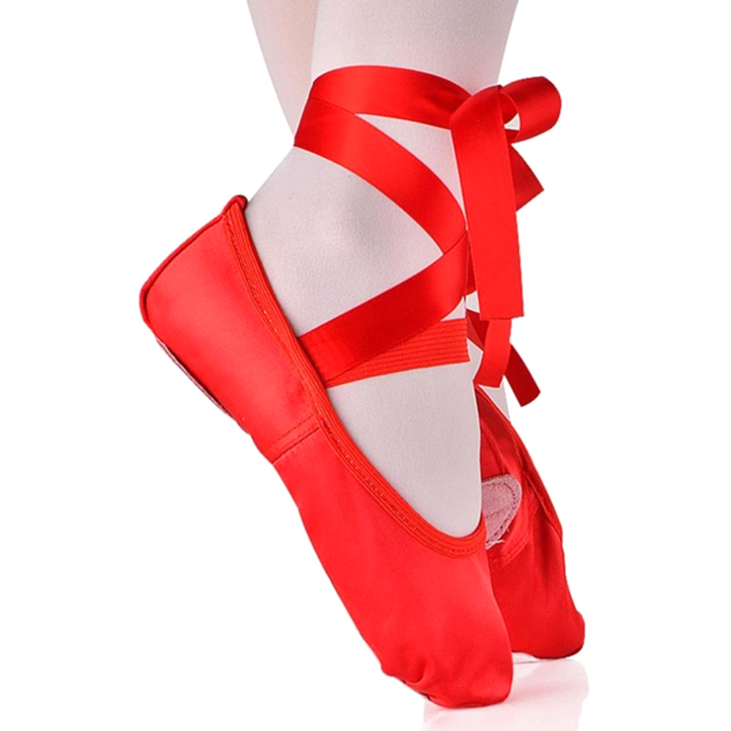 New Children's And Adult Girls Ballet Dance Shoes Satin Gymnastics Flats Split Sole With Ribbon New Design